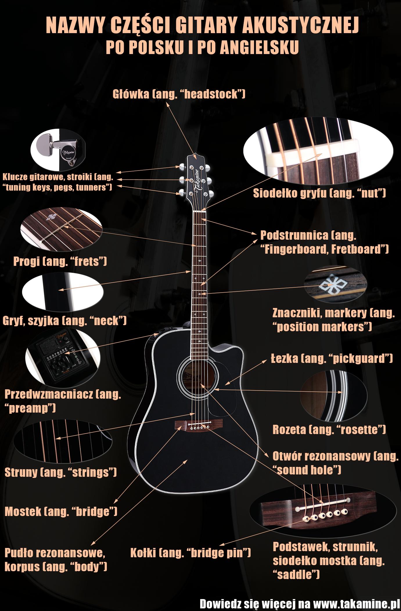 Infografika przedstawiająca nazwy części gitary akustycznej